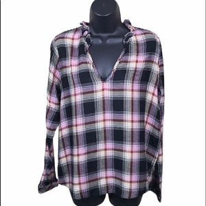 Cloth & Stone Plaid Pull On Blouse Size M—A5